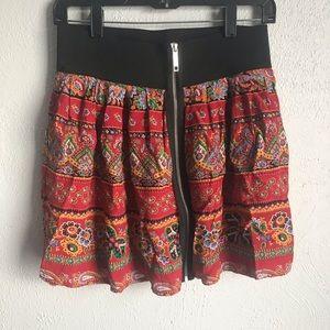 River Island Floral Mini Red & Black Zipup Skirt M